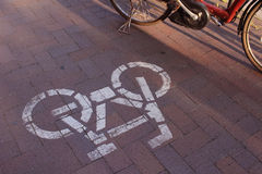 Road bicycle priority Royalty Free Stock Photo