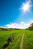 Road bicycle on the rural road Royalty Free Stock Photos