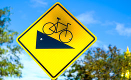 road with bicycles sign Stock Photos
