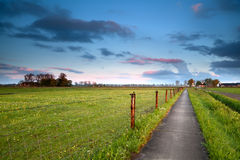 Road for bicycles at sunrise in Holland Royalty Free Stock Photos