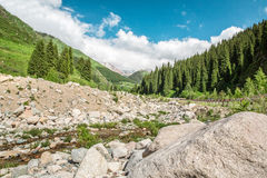 Road on  Big Almaty Lake, mountains and blue sky in Almaty, Kazakhstan,Asia at summer Stock Photos