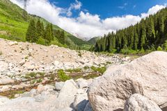 Road on Big Almaty Lake, nature green mountains and blue sky in Almaty, Kazakhstan,Asia Stock Photography
