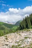 Road on  Big Almaty Lake, nature mountains and blue sky in Almaty, Kazakhstan,Asia at summer Stock Images