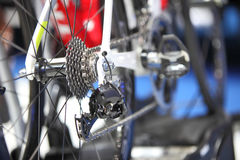 Road bike cassette on the wheel with chain Stock Photos