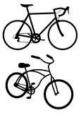 Road Bike And Cruiser. Silhouette image of a road bike and cruiser Royalty Free Stock Photo