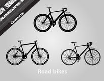 Road bikes. Modern bikes of various types. All components are assembled vector illustration
