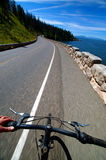 Road Biking. This is a picture of a biker mountain biking down a road with a view of the ocean and a mountain with pine trees Stock Images