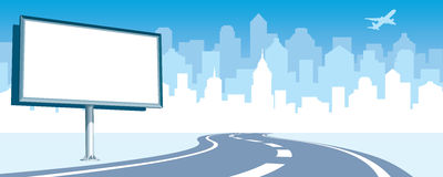Road billboard. Blank billboard at the road, cityscape silhouette in the background royalty free illustration