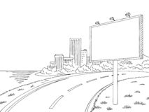 Road billboard graphic black white city landscape sketch illustration vector. Road billboard graphic black white city landscape sketch vector vector illustration
