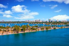 Road Through Biscayne Bay. In Miami Florida royalty free stock photography