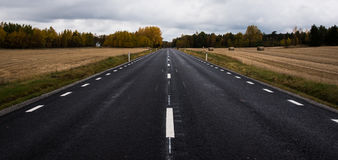Road. Black straight road thrue fields in Sweden Royalty Free Stock Image