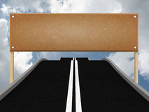 Road with blank billboard and sky. 3D Royalty Free Stock Photos