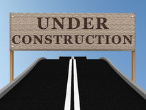 Road with blank billboard and sky. 3D image. Road with blank billboard under construction and sky. 3D image Stock Photos