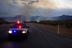 Road block. At Red Rock wild fire, near Las Vegas, Nevada Royalty Free Stock Photos