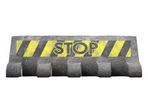 Road block. Concrete road block with 'stop' written on it Stock Photos