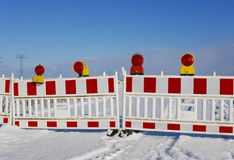 Road Block. In winter with snow Royalty Free Stock Photography