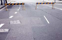 Road Block. Two Barricades On A Urban City Road / Street royalty free stock photo