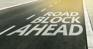 Road block ahead message on the highway lane. Traffic signs and markings Stock Photography