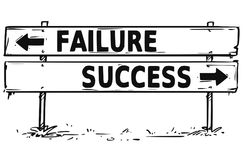 Road Block Arrow Sign Drawing of Failure or Success  Stock Images