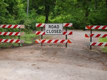 Road block closed Ross sign stock photo