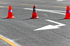 Road block with lanes. On the road Royalty Free Stock Image
