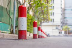 Road block pole. In straight line Royalty Free Stock Images