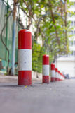 Road block pole. In straight line Royalty Free Stock Photo