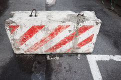 Road block with red white striped pattern Stock Photos