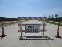 Road Block With Road Closed Sign Stock Images