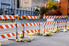 Road block for road work Royalty Free Stock Images