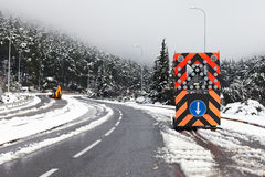 Road block sign due to Heavy snow Stock Photos