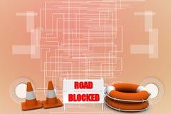 Road block sign Illustration Royalty Free Stock Photo