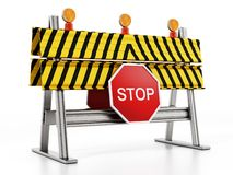 Road block with stop sign isolated on white background. 3D illustration vector illustration