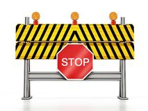Road block with stop sign isolated on white background. 3D illustration stock illustration