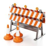 Road block with traffic cones isolated on white background. 3D illustration vector illustration