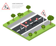 Road block under construction. Road sign, triangle Royalty Free Stock Image
