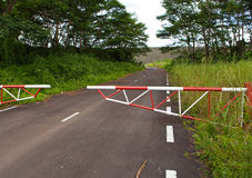 The road blocked by a gate Stock Images