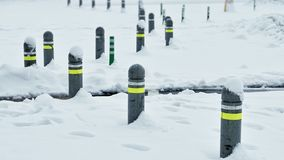 road blocks covered by snow Stock Photos