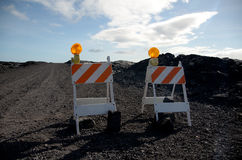 Road blocks on the road to Kalapana lava flow Royalty Free Stock Photography