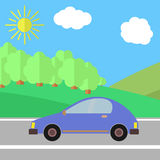 Road-01. Blue Car on a Road on a Sunny Day. Summer Travel Illustration Stock Photo