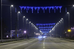 Road with blue lights at night Royalty Free Stock Photography
