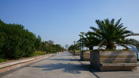 Road and blue sky. Very beautiful view about Xuhui Riverside.sky is blue Royalty Free Stock Images