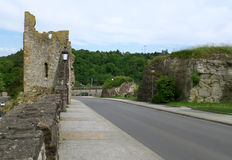 Road on Bock Casemates lead to the Hollow Tooth` Ruin, Luxembourg City. Luxembourg Royalty Free Stock Photography