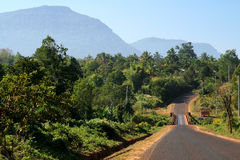Road through Bolaven Plateau Royalty Free Stock Photography
