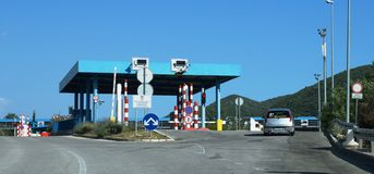 Road border crossing between Croatia and Montenegro Royalty Free Stock Photo