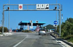 Road border crossing between Croatia and Montenegro Royalty Free Stock Photography