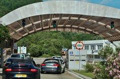 Road border crossing between Croatia and Montenegro Stock Photography
