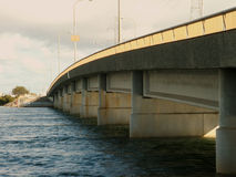 Road bridge. A road bridge that connects two islands with the mainland Stock Photos