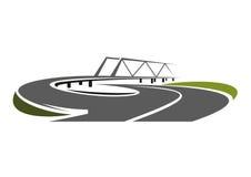 Road bridge above speed highway Stock Image