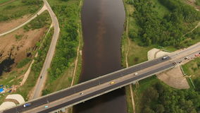 Road bridge across the river. stock footage